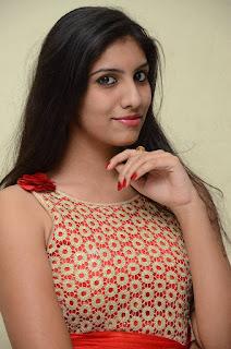 Srilekha in a Red Sleeveless Anarkali Dress Stunning Beauty at Oke Oka Aasa Movie Audio Launch