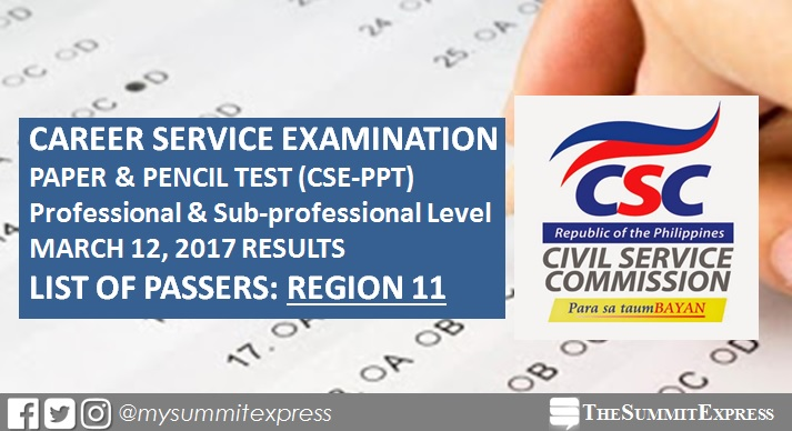 Region 11 Passers: Civil Service Exam results March 2017