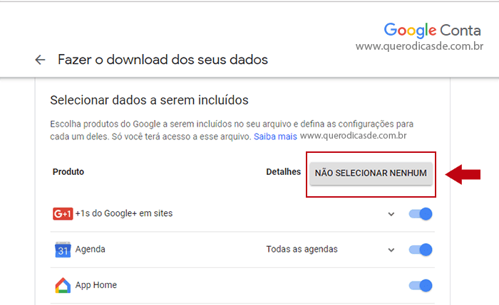 Como exportar os dados do Google +