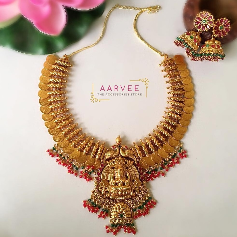 Gold Lakshmi Haram Designs with Earrings