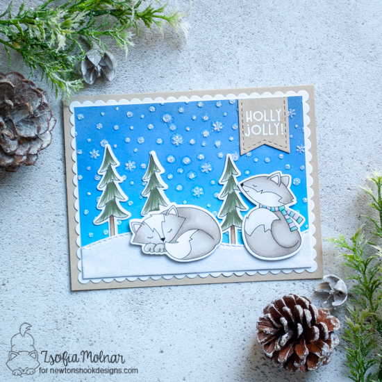 Newton's Nook Designs & Therm O Web Inspiration Week - Winter Fox card by Zsofia Molnar | Fox Hollow Stamp Set and Petite Snow Stencil by Newton's Nook Designs | Flock Transfer Sheets and Glitter Glitz Gel by Therm O Web #newtonsnook #thermoweb