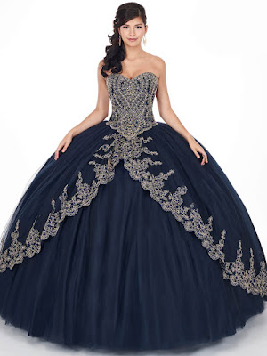 Midnight blue/gold Ball Gown Mary's Quinceanera design dress