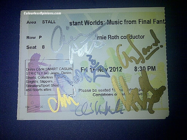 Distant Worlds Final Fantasy Malaysia MPO KLCC Autographed ticket