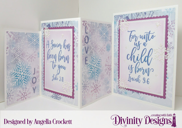 Divinity Designs LLC: Keep Christ, Christmas Dove Dies, Christmas Paper Collection 2019, Four Panel Card With Layers Dies, Letter Board Dies, Pierced Rectangles Dies, Scalloped Rectangles Dies; Card Designer Angie Crockett