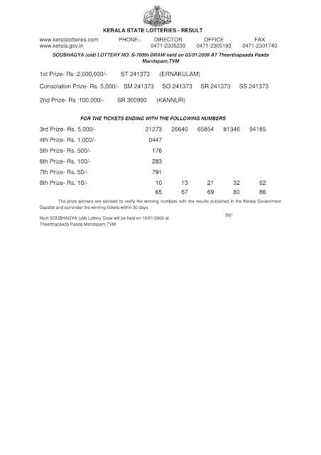 SOUBHAGYA S-700 Kerala Lottery Result on 03.01.2009