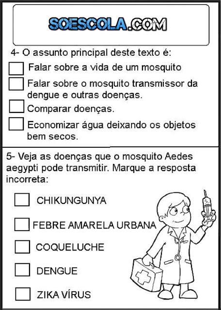 SIMULADO DE PORTUGUÊS SOBRE A DENGUE - para imprimir e colorir