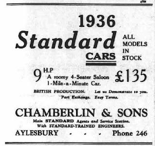 Chamberlain & Son, Aylesbury 1935 advert