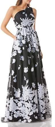 Carmen Marc Valvo One-Shoulder Floral Organza Ball Gown