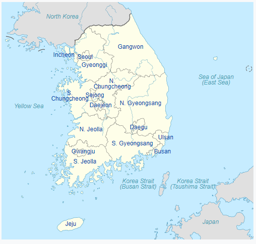 Peta pembagian wilayah administratif Korea Selatan