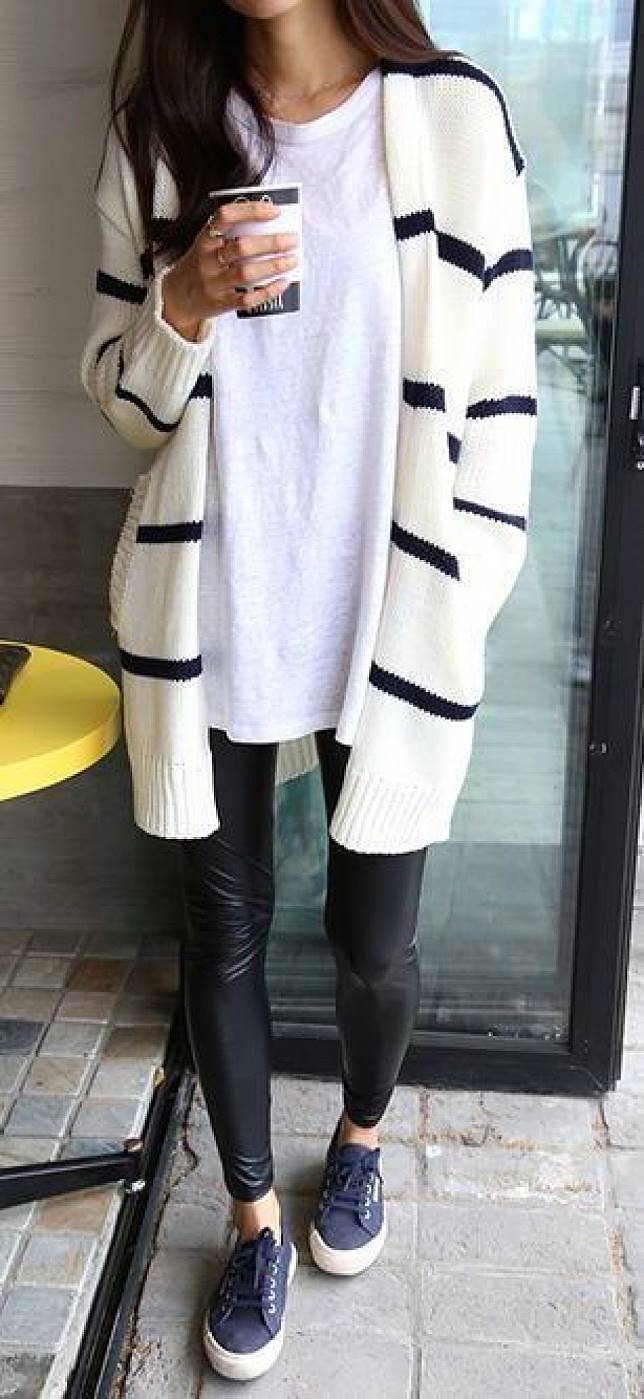 cool casual outfit / stripped cardi + white top + leather skinnies + sneakers