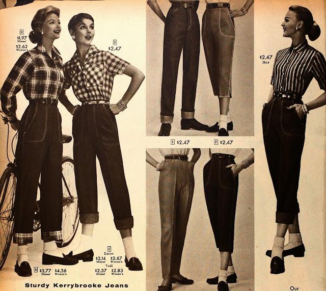 Calças cigarretes de cintura alta nos anos 50