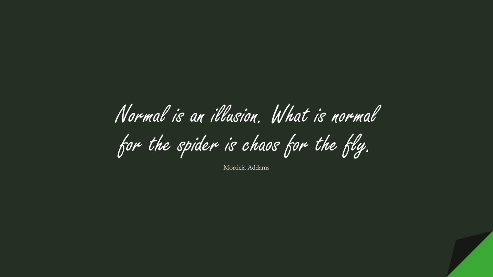 Normal is an illusion. What is normal for the spider is chaos for the fly. (Morticia Addams);  #LifeQuotes