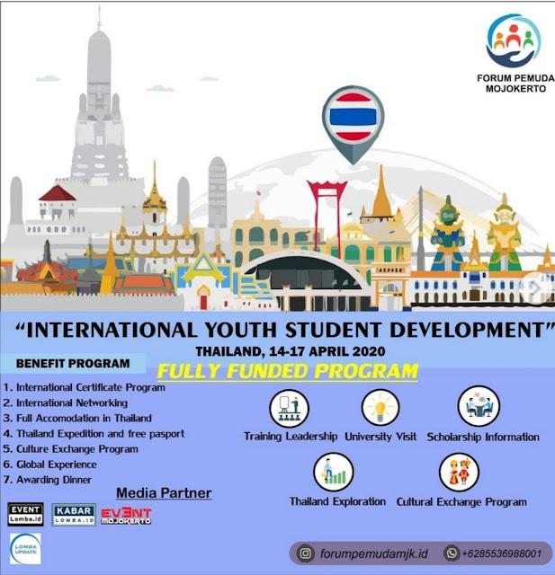 FULLY FUNDED,INTERNATIONAL YOUTH STUDENT DEVELOPMENT 2020    14-17 April 2020    Bangkok, Thailand.