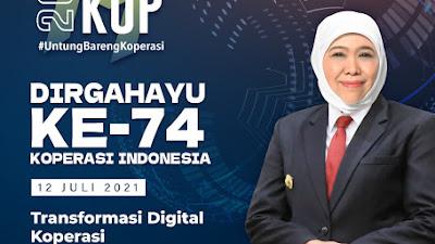 Peringatan Hari Koperasi, Gubernur Khofifah: Transformasi Digital Koperasi Mendesak Sebagai  Pendorong  Kebangkitan K-UMKM