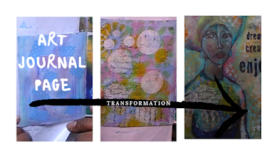Art Journal page transformation - from blank page to finished page by Amanda Trought