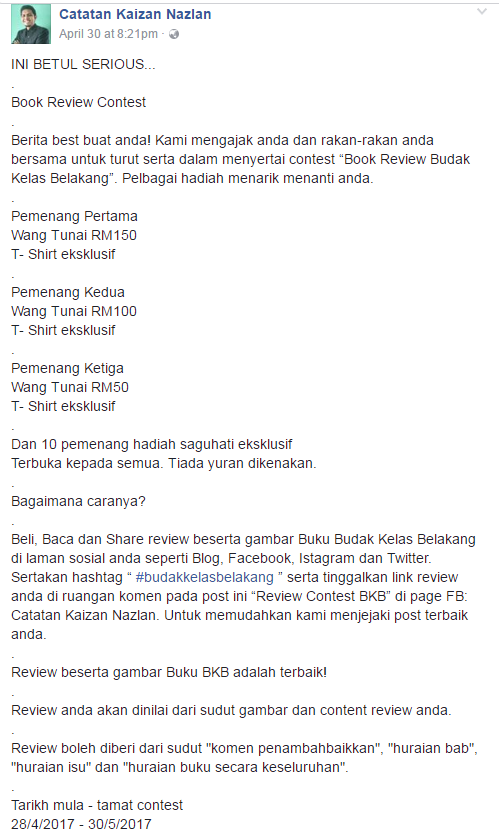 Book Review Contest oleh Kaizan Nazlan