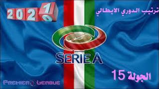 ترتيب الدوري الإيطالي - الجولة 15