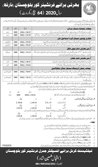 Pak Army FC Male and Female Jobs 2020