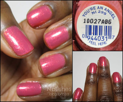 A collage featuring a couple additional manicure shots, and a label shot of Nicole by OPI 'You're an Angel'