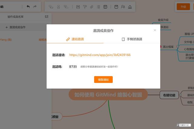 【行銷手札】免費、免安裝的線上心智圖 GitMind - 透過「連結」就能立即邀請對方加入協作