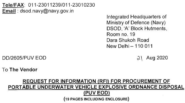 Portable Underwater Vehicle - PUV - Explosive Ordnance Disposal - EOD - Indian Navy - RFI - 01