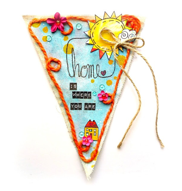 Stamped and Painted Canvas Pennant with Heartwarming Home Quote