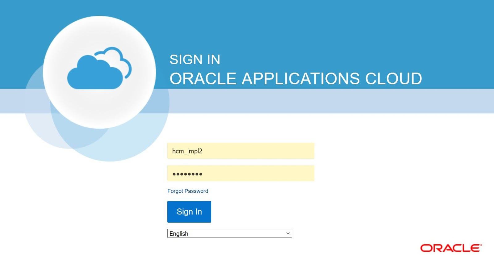 Oracle HCM Cloud Sign in Page