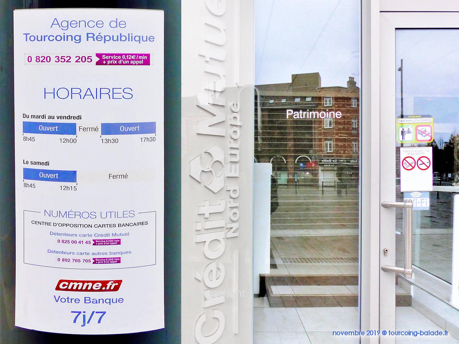 Horaires d'ouverture - Crédit Mutuel République, Tourcoing