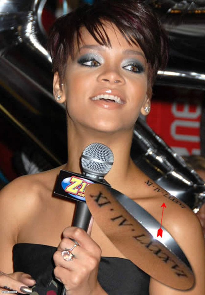 tattoo designs: Rihanna s roman numeral tattoo 02