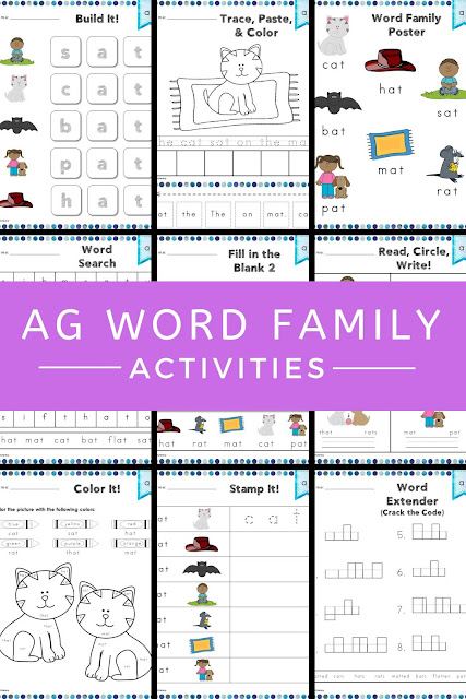 This free ag Word Family Word Work and Activities pack includes over 30 different student centered phonics activities, not just worksheets, that promote reading, tracing, writing, building, cutting, pasting, and creating words in the ag word family with little to no prep work for you. #wordwork #phonics #agwordfamily #free #teacher