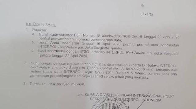 Nama Sekretaris NCB Interpol Indonesia disebut-sebut ikut terlibat dalam membantu buron kasus Bantuan Likuiditas Bank Indonesia (BLBI) terkait pengalihan hak tagih (cessie) Bank Bali, Djoko Tjandra menghilangkan red notice. Brigjen Pol NW merupakan jenderal kedua yang disebut membantu pelarian Djoko Tjandra.