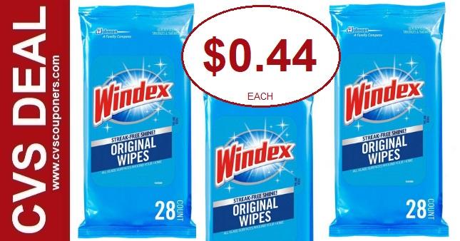 Windex Wipes CVS Coupon Deal $0.44