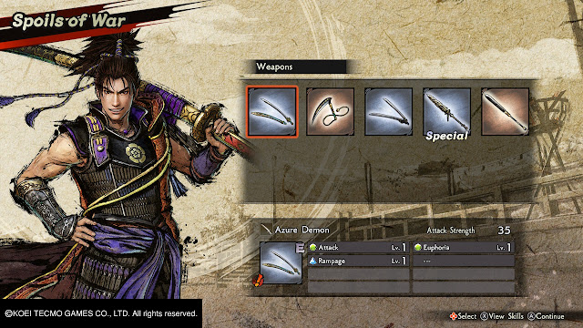 Oda Nobunaga Recompensas armas Samurai Warrior 5 Nitendo Switch
