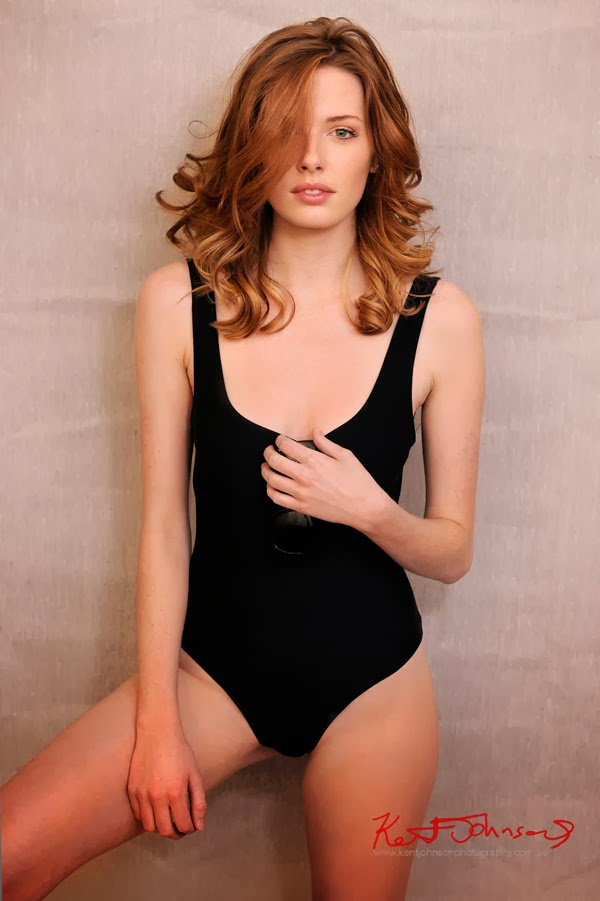 Hayley Wilson in black one-piece swimsuit, Platform Models, model portfolio photography by Kent Johnson.