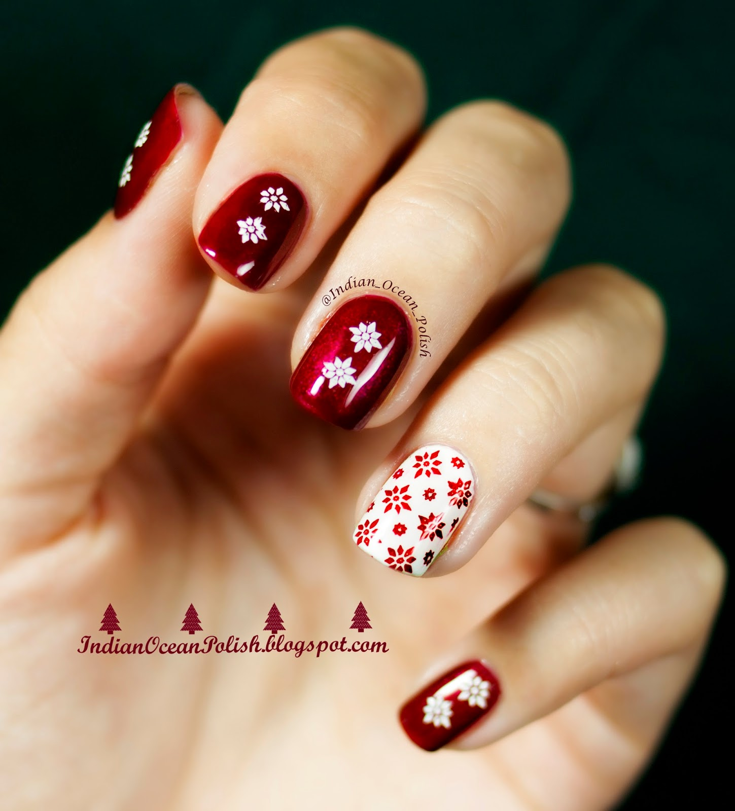 Red Nail Polish On Thumb: Indian Ocean Polish: Christmas 2013 Nail Art Ideas: Simple