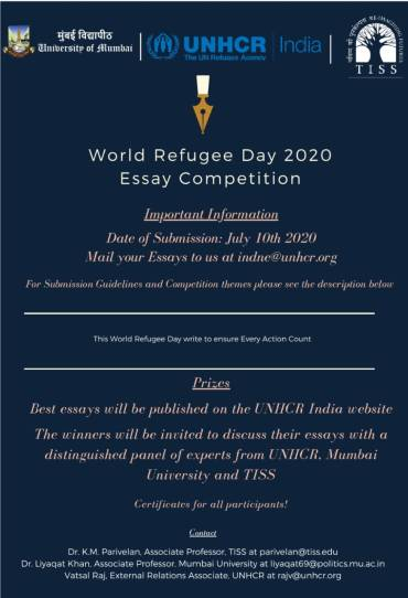 [Online] Essay Writing Competition on World Refugee Day 2020 by University of Mumbai, UNHCR India & Tata Institute of Social Science [Submit by 10 July 2020]