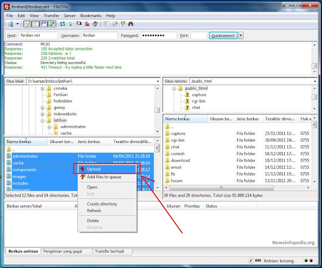 upload file web newsinfopedia - Cara Gampang Upload File Website Ke Web Hosting Memakai Filezilla