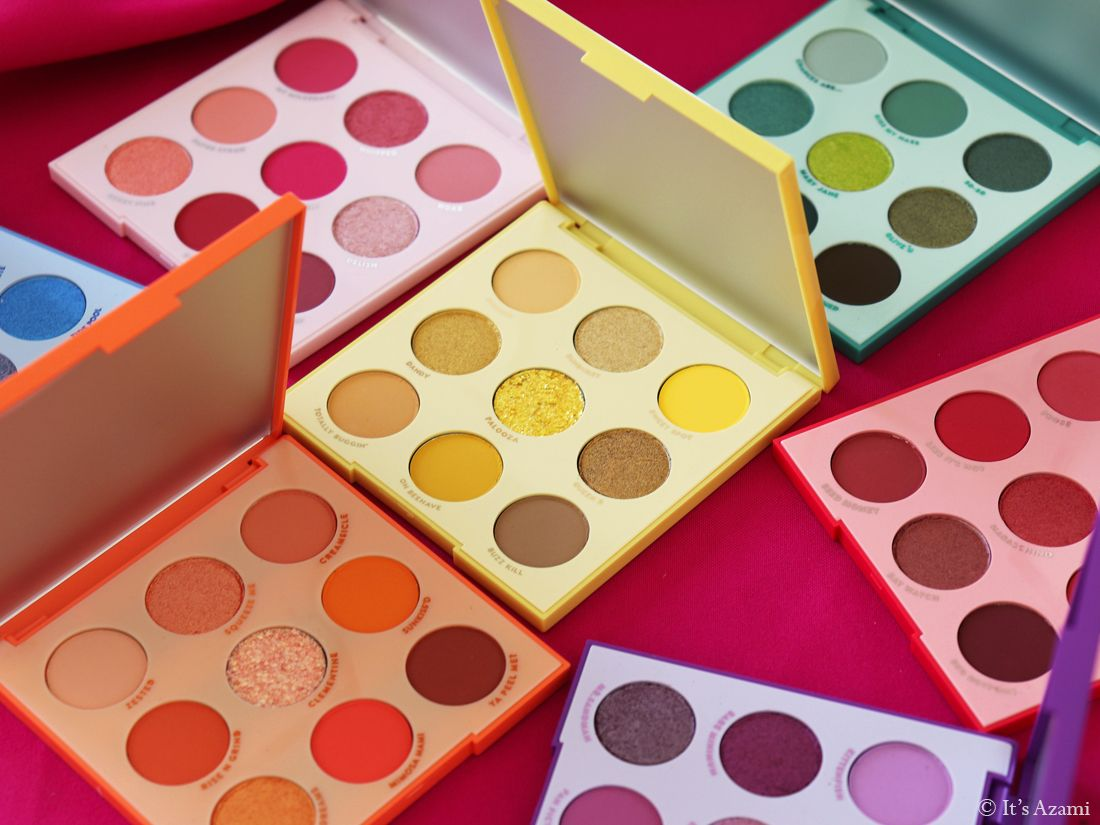 ColourPop Cosmetics | 9-Pan Eyeshadow Palettes - Blue Moon - Orange You Glad - Main Squeeze - It\'s My Pleasure - Strawberry Shake - Just My Luck - Uh-Huh Honey Review & Swatches Avis Palette - Test Revue - London Beauty Blogger - Paris Makeup Artist - Beauty Youtuber