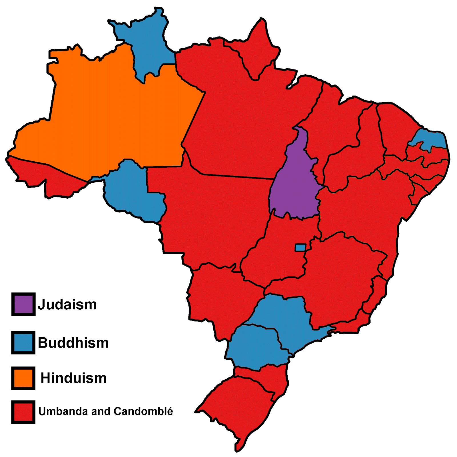 Largest non-Christian religion in each Brazilian state