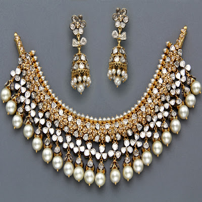 Indian Jewellery And Clothing Polki Necklace Sets From