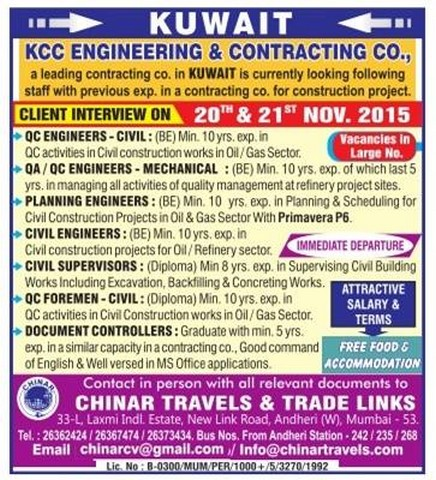KCC Engineering & contracting company jobs for Kuwait - Gulf