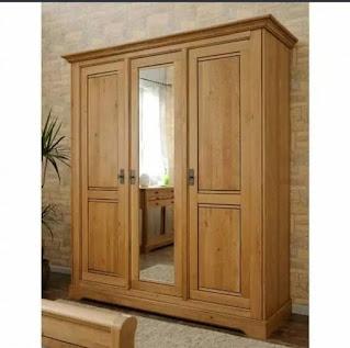 lemari pakaian kayu jati 3 pintu minimalis asli Jepara