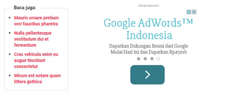 Memasang Iklan Dan Related Post Berdampingan Di Tengah Artikel Blog