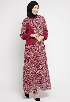 Model Gamis Batik Pesta berhijab