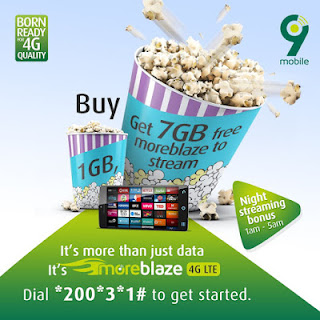 9mobile is offering extra 7Gb data bonus to all it customers you will be granted with 7GB data to stream videos online.