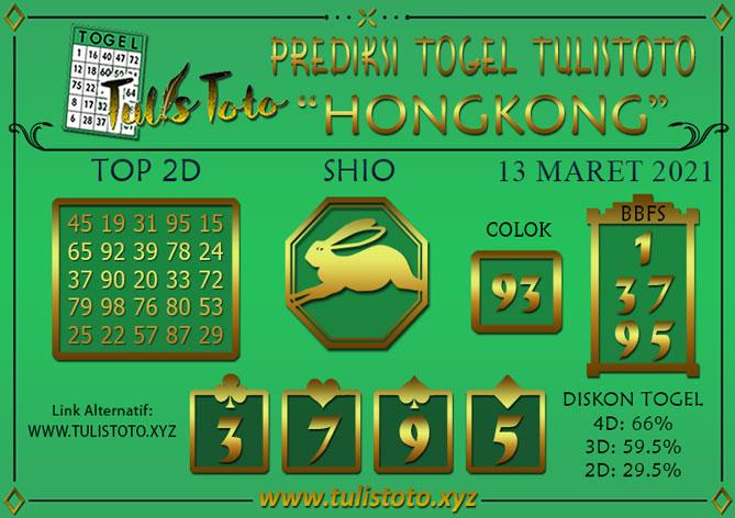 Prediksi Togel HONGKONG TULISTOTO 13 MARET 2021