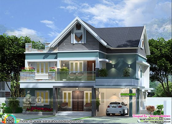Front elevation 3d rendering of a mixed roof house