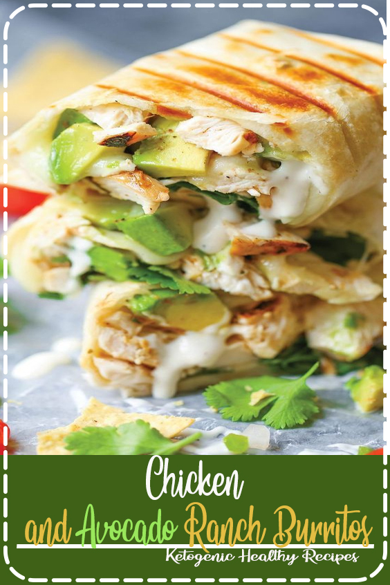 Chicken and Avocado Ranch Burritos - These come together with just 15 min prep! You can also make this ahead of time and bake right before serving. SO EASY!  #recipes #healthyrecipes #easyrecipes
