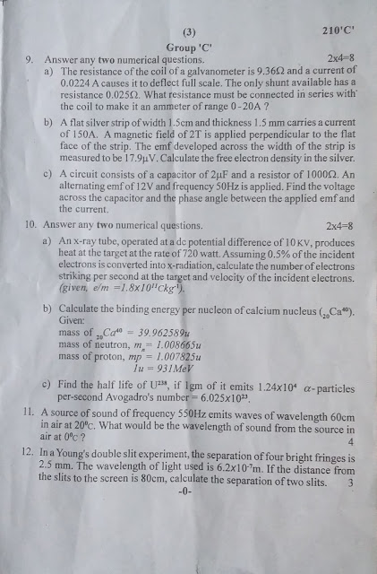 Old Questions : NEB Grade XII Old question Physics (2076\2019)
