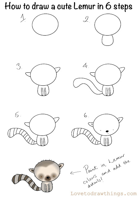 How to draw a cute lemur in 6 steps